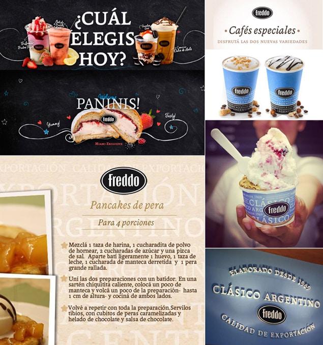 """Aplicación en la identidad corporativa de la marca de helados argentina """"Freddo""""."""