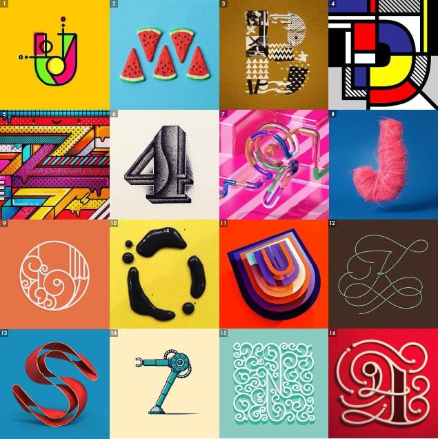 [1] U por @__ibnz – [2] W por @snackstudio – [3] B por @andygellenberg – [4] D por @smirapdesigns – [5] Z por @chocotoycute – [6] 4 por @letters_by_meraki – [7] 9 por @machineast – [8] J por @_annagb – [9] O por @bergocce – [10] O por @guillemcasasus y @bermudez1988 – [11] U por @miguelbardales – [12] K por @andres_momo – [13] S por @christianconlh – [14] 7 por @gallacticfennecs – [15] N por @memovigil – [16] 4 por @ivan7castro