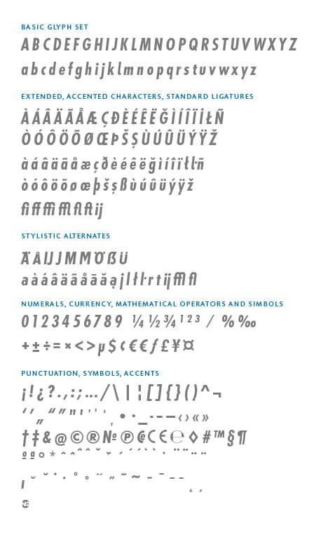 GlyphSet_en_Futura-ND-Alt_BoldCondensedItalic