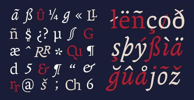 Muestra de caracteres de Andralis ND que abarcan un amplio rango de idiomas.