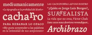 Fontana aplica ligaduras en los pares de letras significativos de la lengua castellana.