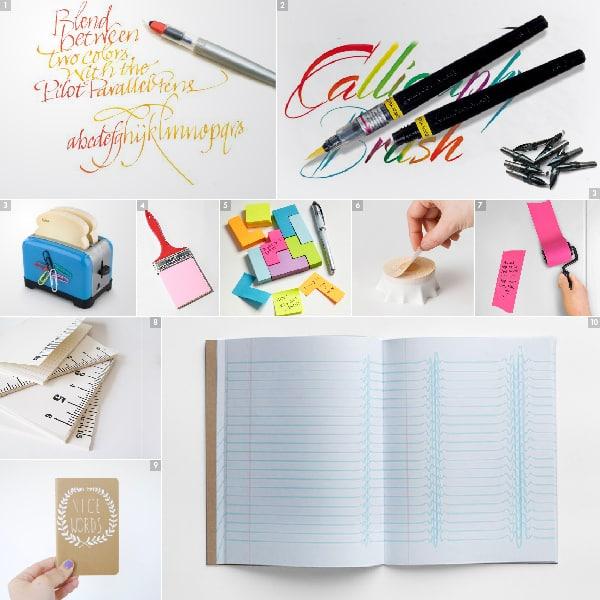 """[1] Parallel Pen de Pilot con efecto degradado – [2] Brush Pen de Pentel – [3] Pósits en forma de tostadas con tostadora imantada – [4] Bloc de notas """"Paint Brush"""" – [5] Pósits """"Tetris"""" – [6] Pósits en forma de tronco de árbol – [7] Rodillo de pósit adhesivo – [8] Cuaderno """"Ruler"""" de Bailey Doesn't Bark – [9] Cuaderno """"Nice Words"""" de """"Oh no Rachio! – [10] Inspiration Pad diseñado por Marc Thomasset"""