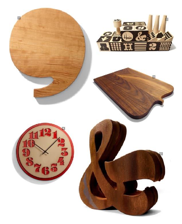 Merchandising de House Industries: [1] Tabla de aperitivos en forma de apóstrofe [2] Bloques de fábrica alfabética [3] Tabla de aperitivo forma de llave – [4] Reloj estarcido – [5] Ampersand de hierro